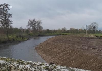 View of affected area from bridge, River Lugg